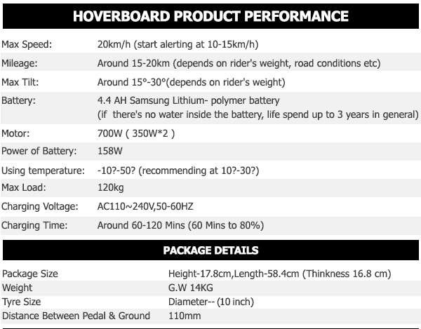 10 inch hoverboard product specifications