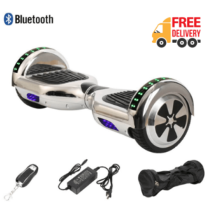6.5 inch silver hoverboard with bluetooth and LED lights