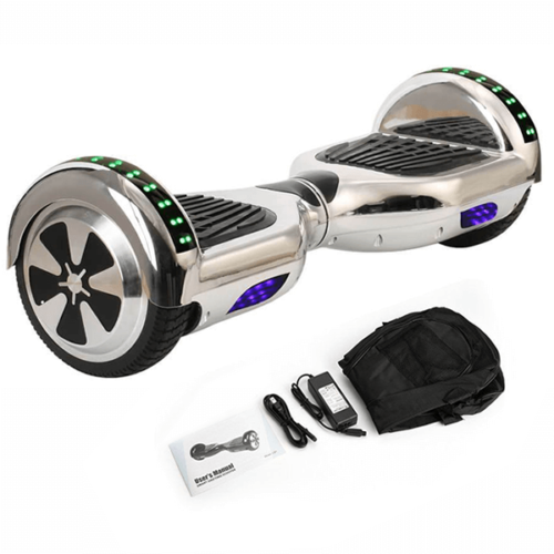 Silver chrome hoverboard with carry bag